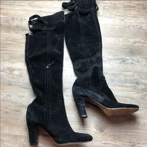 Sam Edelman black suede knee high boots